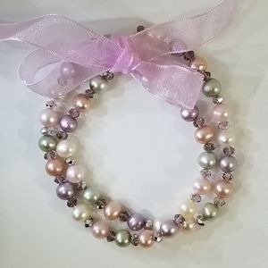 Freshwater Pearl & Crystal Bead Stretch Bracelets